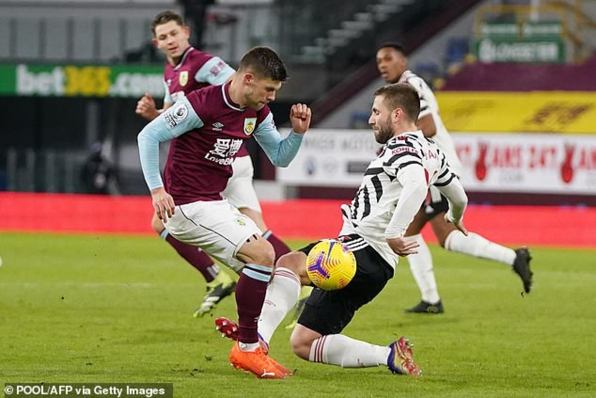 Gầm giày của Luke Shaw đạp thẳng vào chân Johann Berg Gudmundsson trong pha tranh chấp bóng giữa hiệp 1.