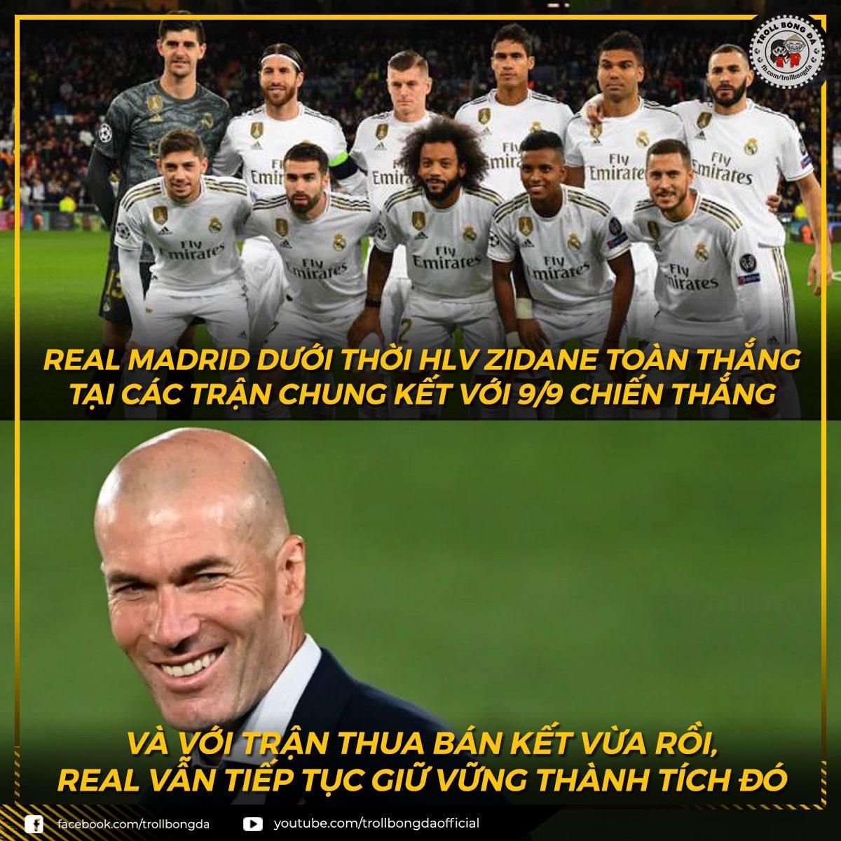 HLV Zidane giữ nguyên thành tích toàn thắng ở các trận chung kết khi dẫn dắt Real Madrid. (Ảnh: Troll bóng đá).