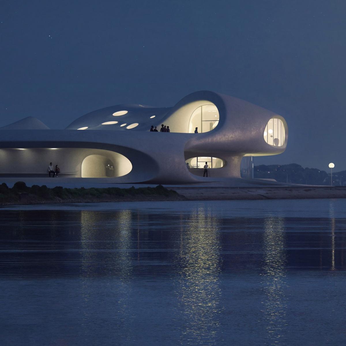 Công trình đáng được nhắc đến đầu tiên trong năm 2021 phải kể đến là Thư viện Wormhole tại đảo Hải Nam, Trung Quốc, do đơn vị thiết kế MAD thực hiện. Công trình sử dụng bê tông trắng với những vòng tròn lớn ấn tượng khiến du khách cảm thấy như đang ở một chiều không gian khác.