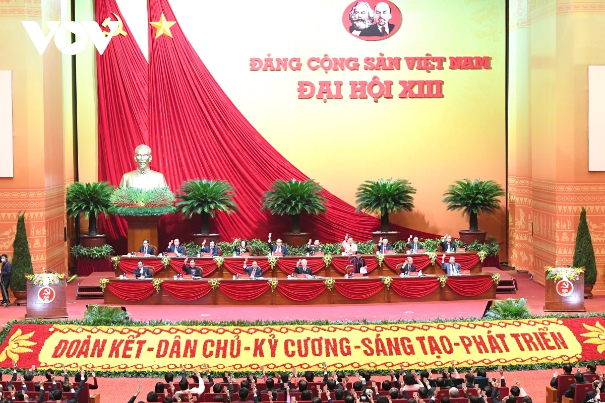 Delegates to the 13th National Party Congress attend the preparatory session on the morning of January 25 at the National Convention Centre in Hanoi.