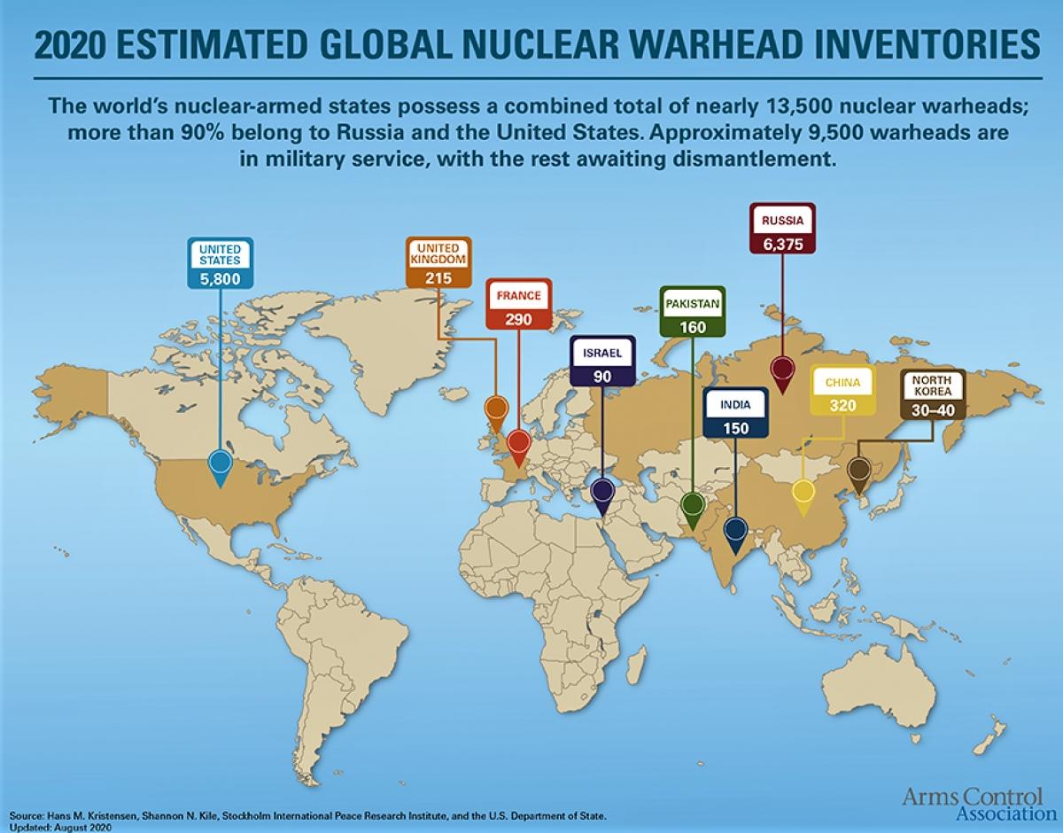 Các nỗ lực giải trừ vũ khí hạt nhân của thế giới đạt được kết quả quá khiêm tốn; Nguồn: guerrenelmondo.it