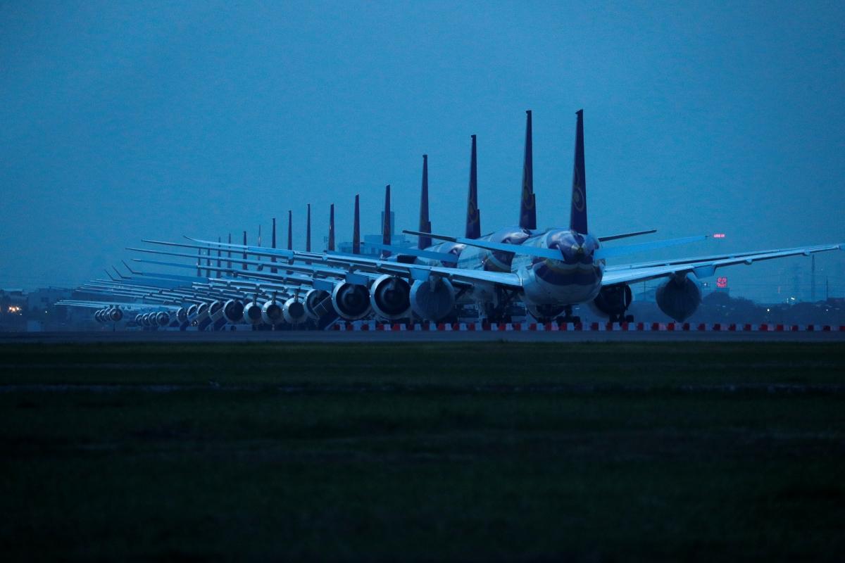 Máy bay 'đắp chiếu' tại sân bay Suvarnabhumi Airport (Bangkok, Thái Lan), ngày 25/5/2020. Nguồn: Reuters