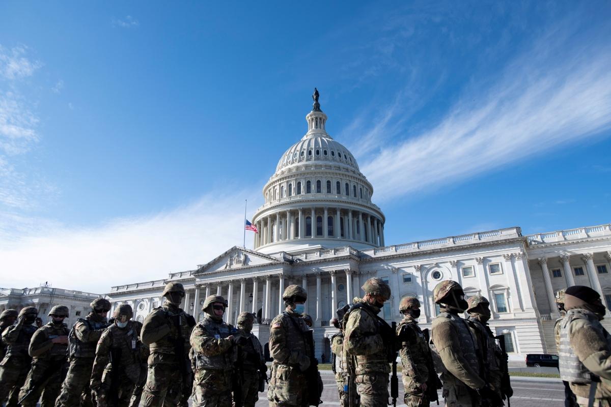 Lực lượng Vệ binh Quốc gia chuẩn bị cho lễ nhậm chức Tổng thống Mỹ hôm 20/1 vừa qua. Nguồn: Reuters