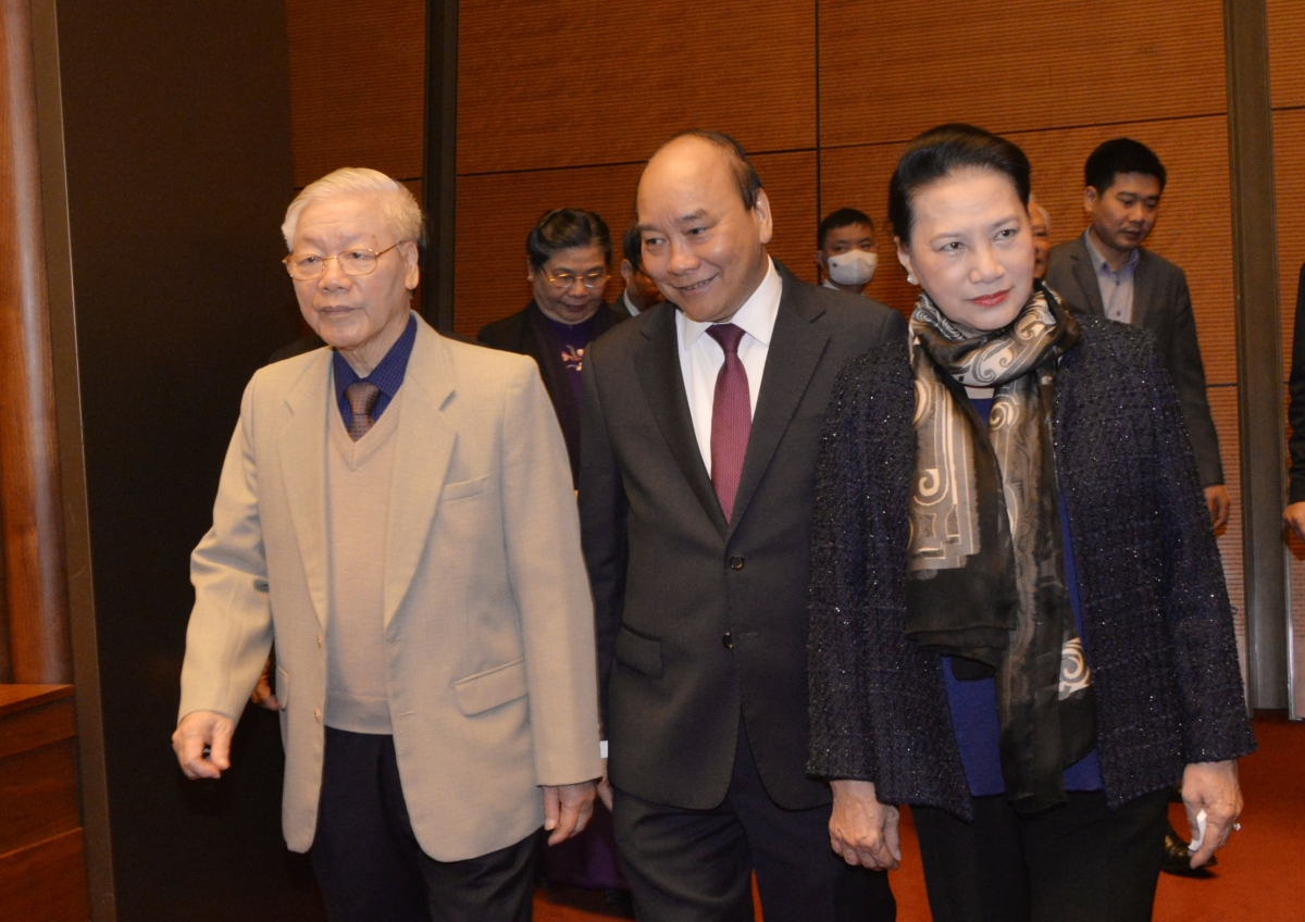 Tổng Bí thư, Chủ tịch nước Nguyễn Phú Trọng, Thủ tướng Nguyễn Xuân Phúc và Chủ tịch Quốc hội Nguyễn Thị Kim Ngân.