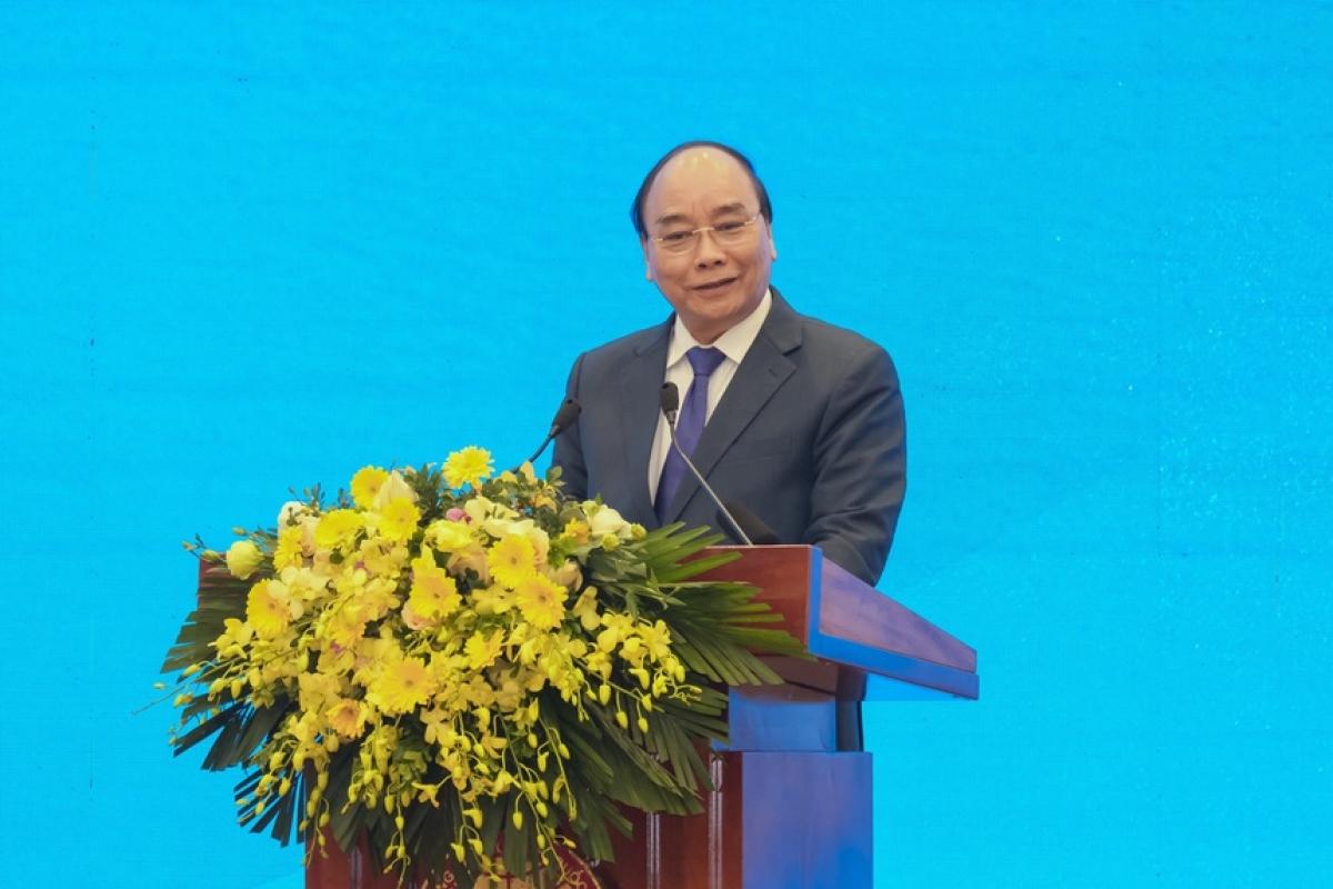 Thủ tướng Nguyễn Xuân Phúc phát biểu tại hội nghị. Ảnh:MOIT.