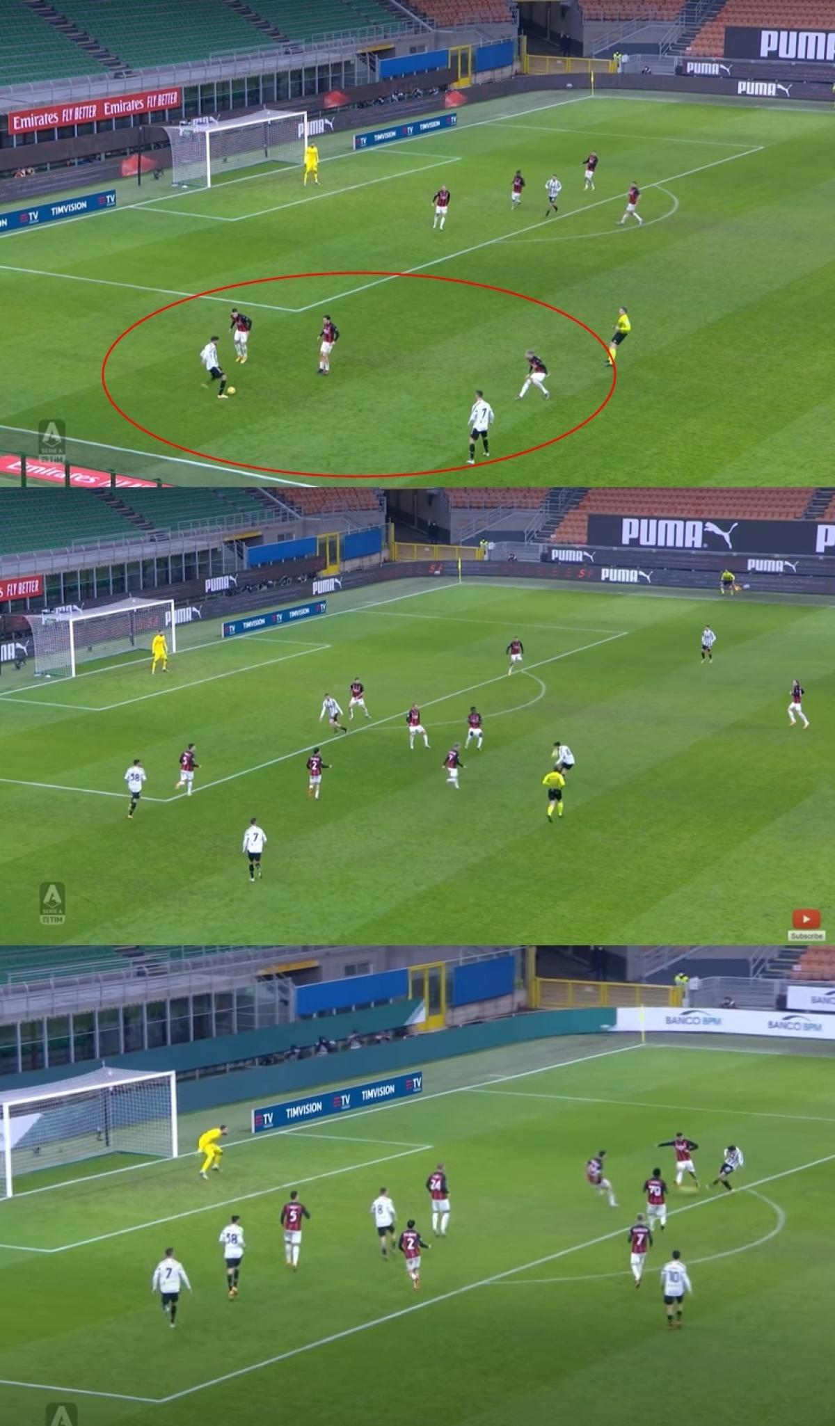 Phút 62, sự có mặt của Ronaldo và Frabotta bên cánh trái lôi kéo 3 cầu thủ AC Milan, lộ ra khoảng trống ở trung lộ. Paulo Dybala nhận bóng rồi kiến tạo cho Chiesa ghi bàn nâng tỷ số lên 2-1.