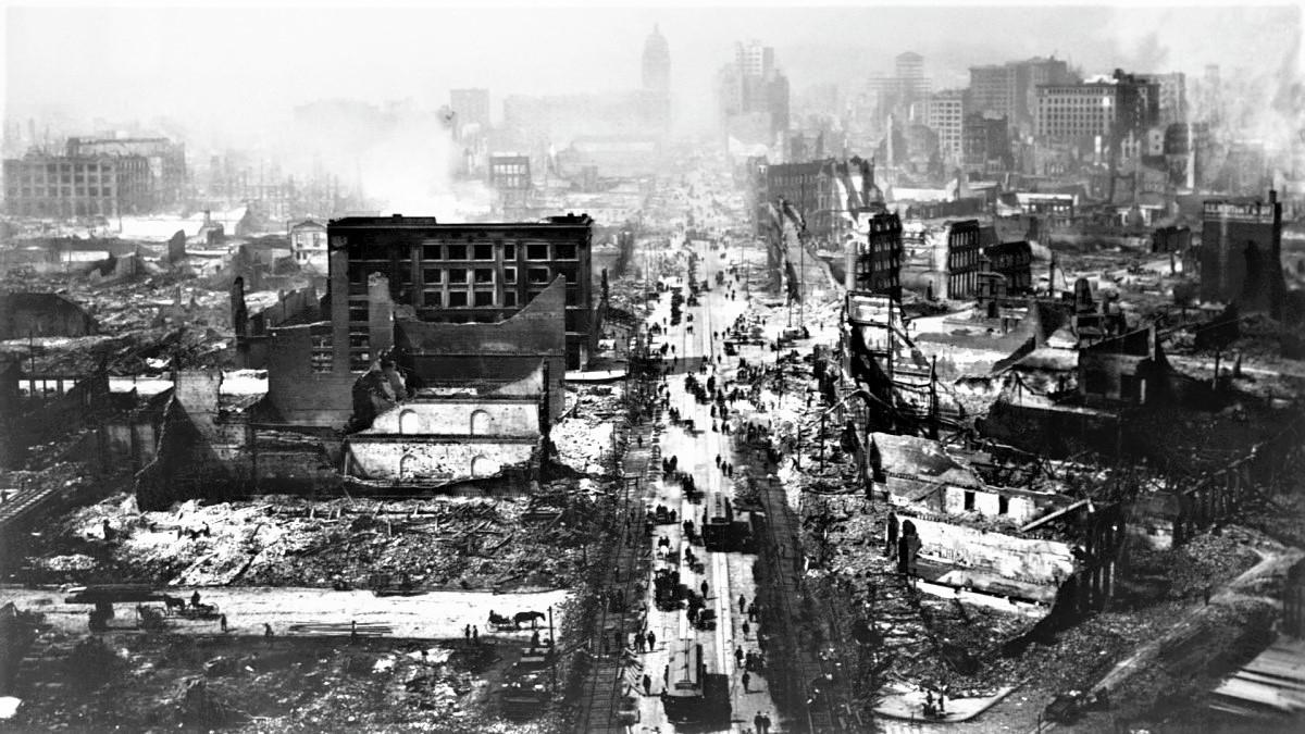 Động đất và hỏa hoạn năm 1906 đã gây nhiều thiệt hại về người và vật chất cho San Francisco; Nguồn: history