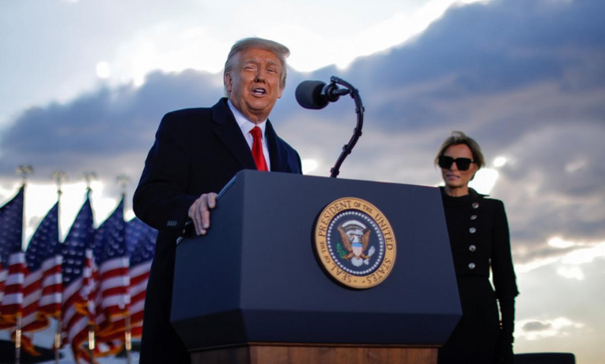 Trump phát biểu tại căn cứ Andrews. Ảnh:Reuters.