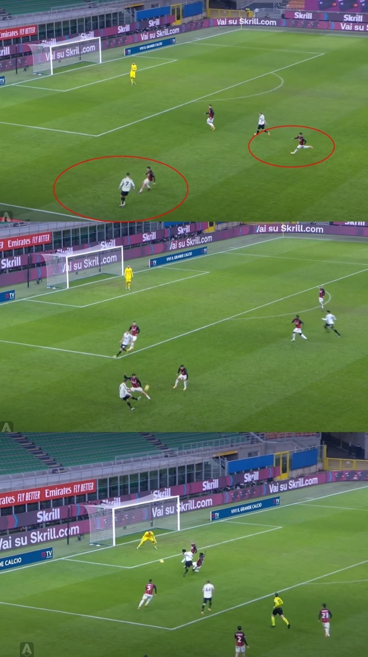 Phút 70, nhận thấy Calabria trong thế 1 đối 1 với Ronaldo bên cánh trái, Diaz lao ra tiếp ứng và để lộ khoảng trống cho McKennie khai thác. Tiếc rằng Ronaldo không có kiến tạo khi cú sút của McKennie bị thủ môn Donnaruma cản phá.