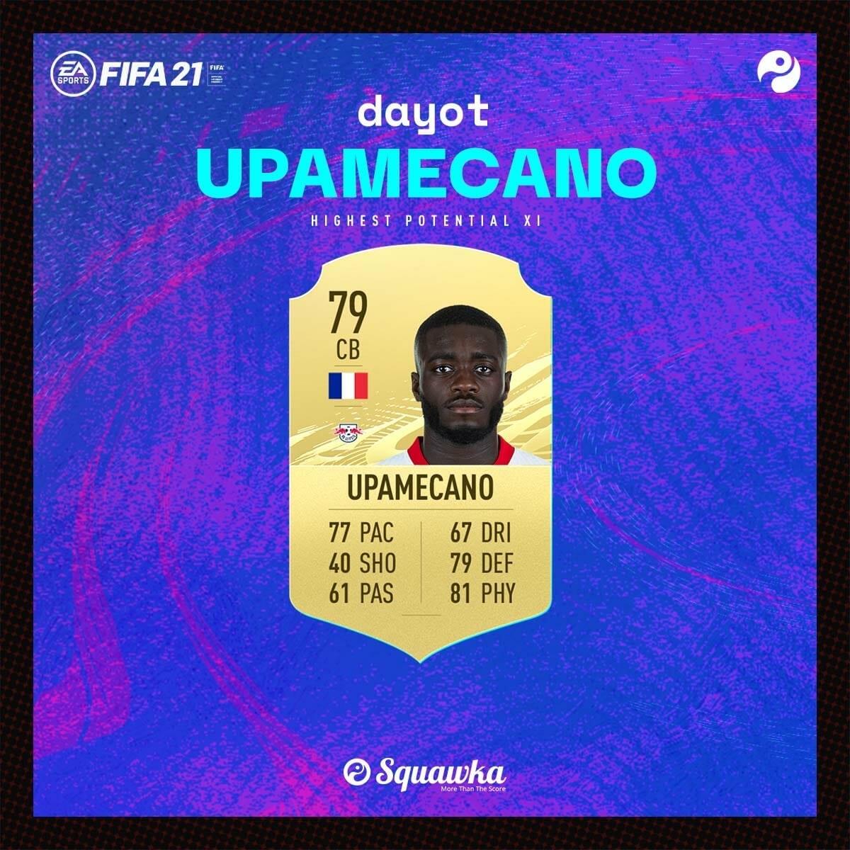 Trung vệ: Dayot Upamecano - Chỉ số ban đầu: 79 - Tiềm năng phát triển: 90