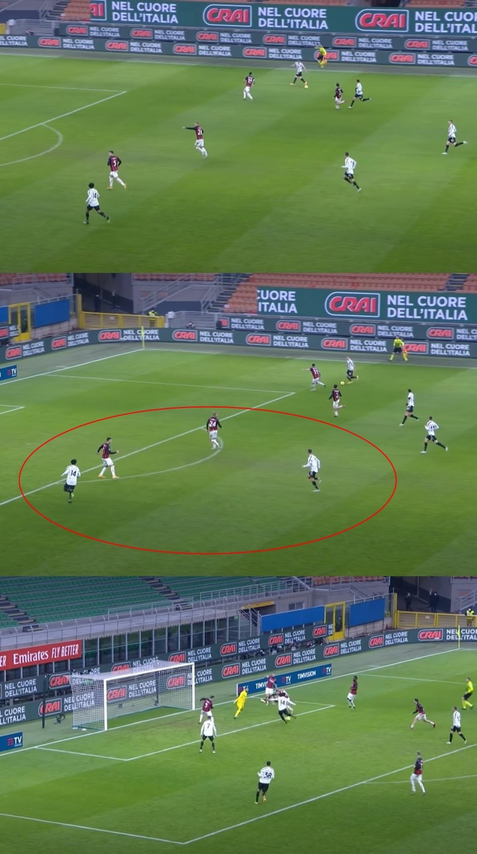 Phút 76, Kjaer đã ra hiệu nhắc Dalot ngăn chặn McKennie. Tuy nhiên, hậu vệ phải của AC Milan đã mất phương hướng khi xoay người lại và thấy Ronaldo đang băng lên. Chừng đó là đủ để McKennie thoát khỏi sự kèm cặp và ghi bàn nâng tỷ số lên 3-1.