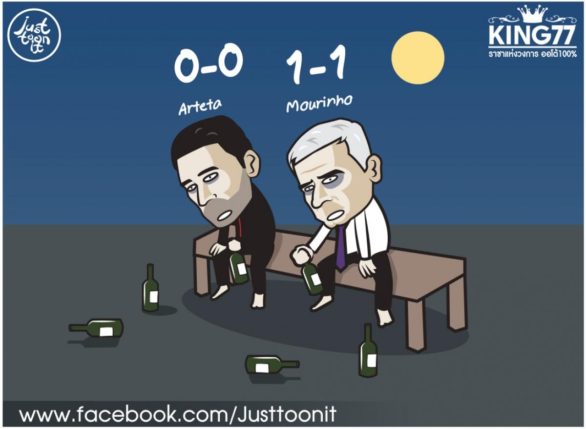 Vòng đấu giữa tuần đáng quên của HLV Mourinho cũng như HLV Arteta. (Ảnh: Just Toonit).