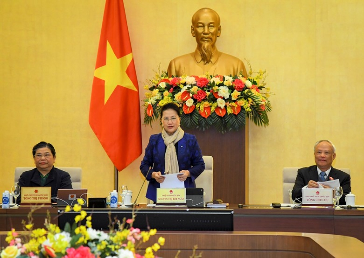 Chủ tịch Quốc hội Nguyễn Thị Kim Ngân phát biểu tại phiên họp thứ 52 của UBTVQH