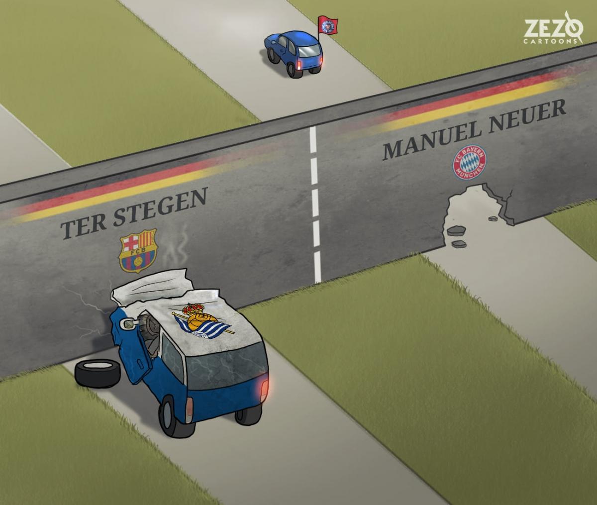 2 thủ môn hàng đầu nước Đức trải qua những cảm giác trái ngược ở loạt đấu luân lưu trong loạt trận giữa tuần. (Ảnh: Zezo Cartoons).