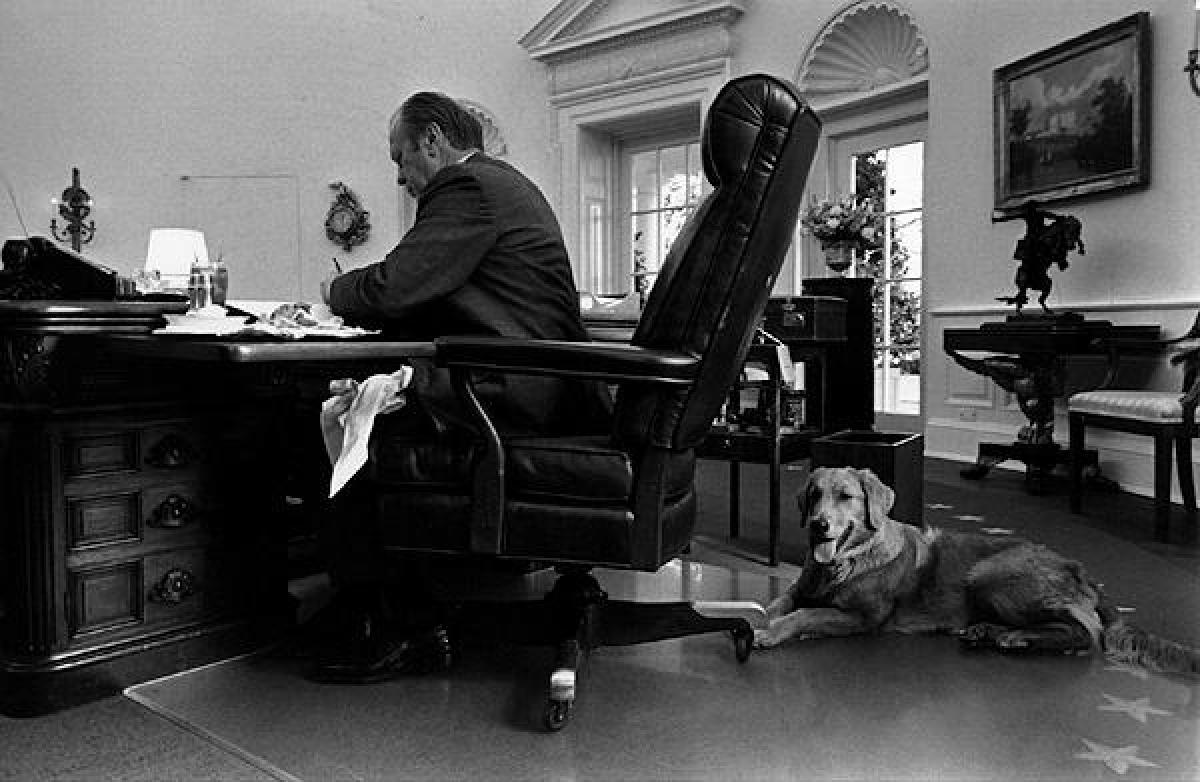 Tổng thống Gerald Ford và chú chó Liberty trong phòng Bầu dục tháng 11/1974.