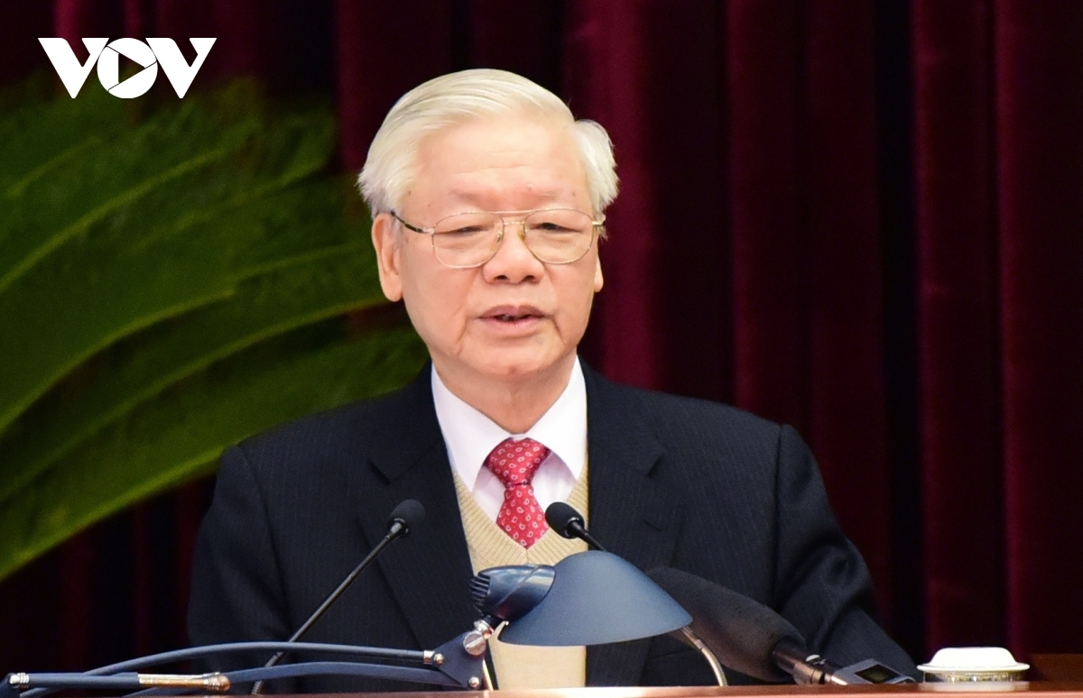Party General Secretary and State President Nguyen Phu Trong speaks at the event