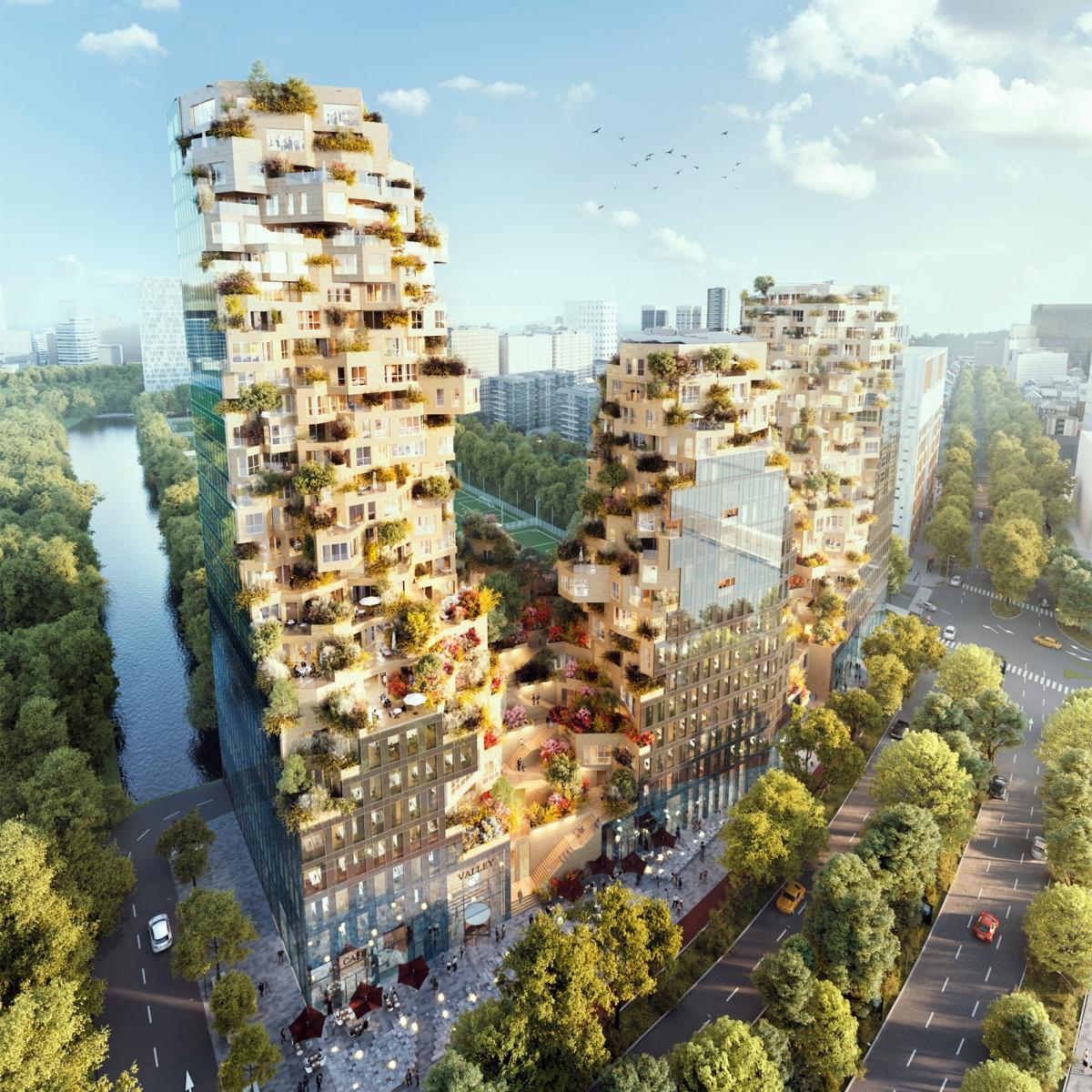 MVRDV lần đầu tiên công bố thiết kế tòa nhà cao tầng hỗn hợp ở Rotterdam vào năm 2015 và cuối cùng nó sẽ đi vào hoạt động năm 2021. Được đặt tên là Thung lũng, công trình bao gồm ba đỉnh núi, mỗi đỉnh đều có cây xanh và cửa sổ góc nhô ra từ mọi góc độ./.