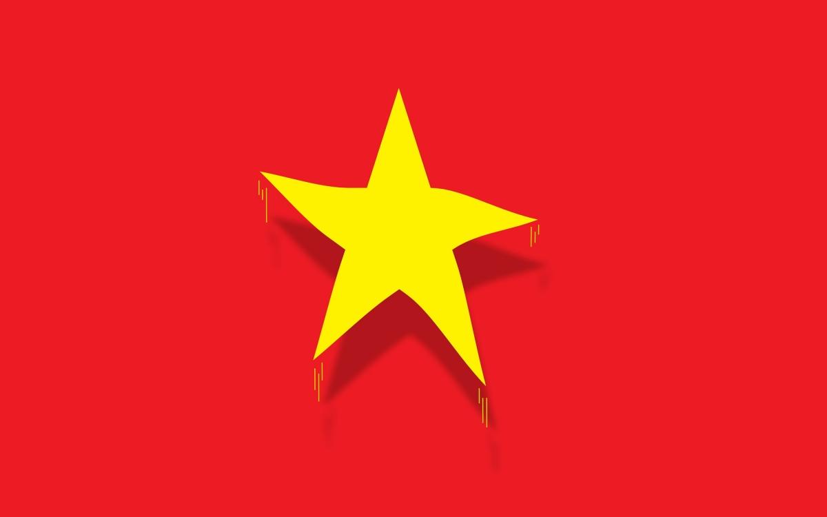 Hình ảnh 3D cách điệu cỡ lớn về quốc kỳ cờ đỏ sao vàng của Việt Nam được SCMP đăng tải trang trọng trong bài viết của họ. Đồ họa: Huy Truong.