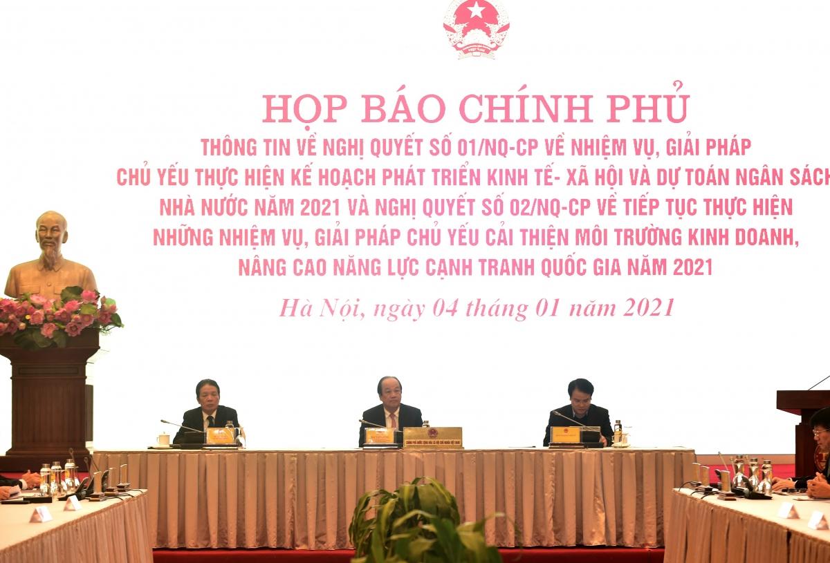 Văn phòng Chính phủ tổ chức buổi Họp báo đầu tiên của năm mới 2021.