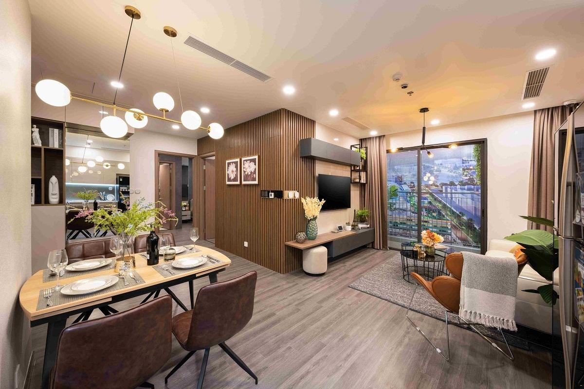 Khu vực nối liền phòng khách, phòng bếp của căn hộ Ruby 2 phòng ngủ mở ra không gian sinh hoạt chung rộng rãi