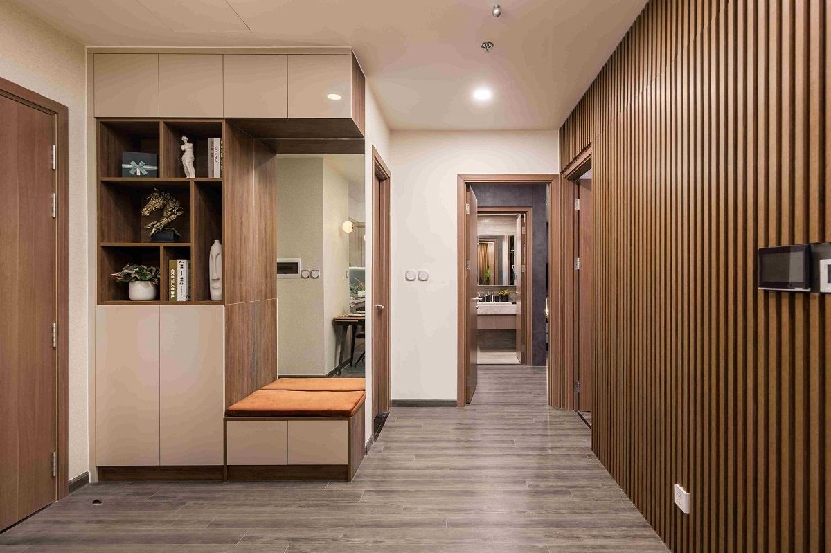 Các phòng ngủ của căn hộ Ruby 2 phòng ngủ được tách biệt khỏi khu vực sinh hoạt chung nhằm tạo sự riêng tư cho chủ nhân.