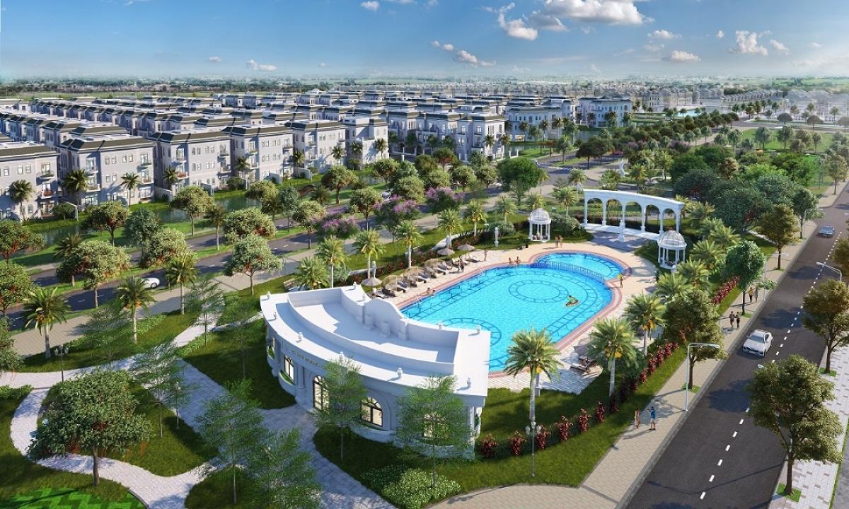 Bể bơi ngoài trời mang phong cách hoàng gia tại Thành phố Châu Âu thu nhỏ Vinhomes Star City. (Hình ảnh mang tính chất minh họa)