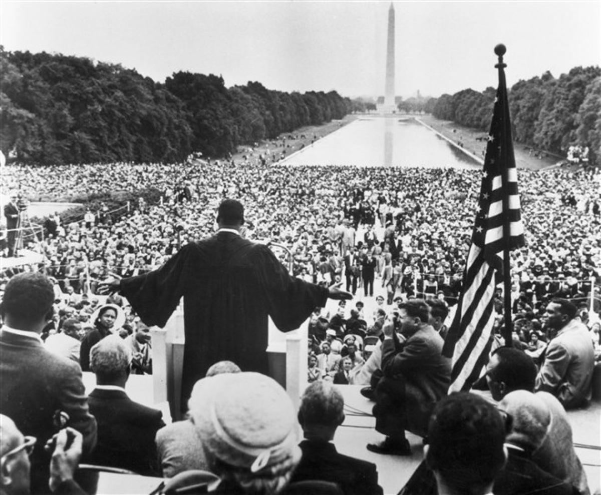 Ngày 17/5/1957, ông Martin Luther King Jr. diễn thuyết trước30.000 người trong cuộc hành hương cầu nguyện cho tự do (Prayer Pilgirmage for Freedom) tại thủ đô Washington. Ảnh:Getty Images