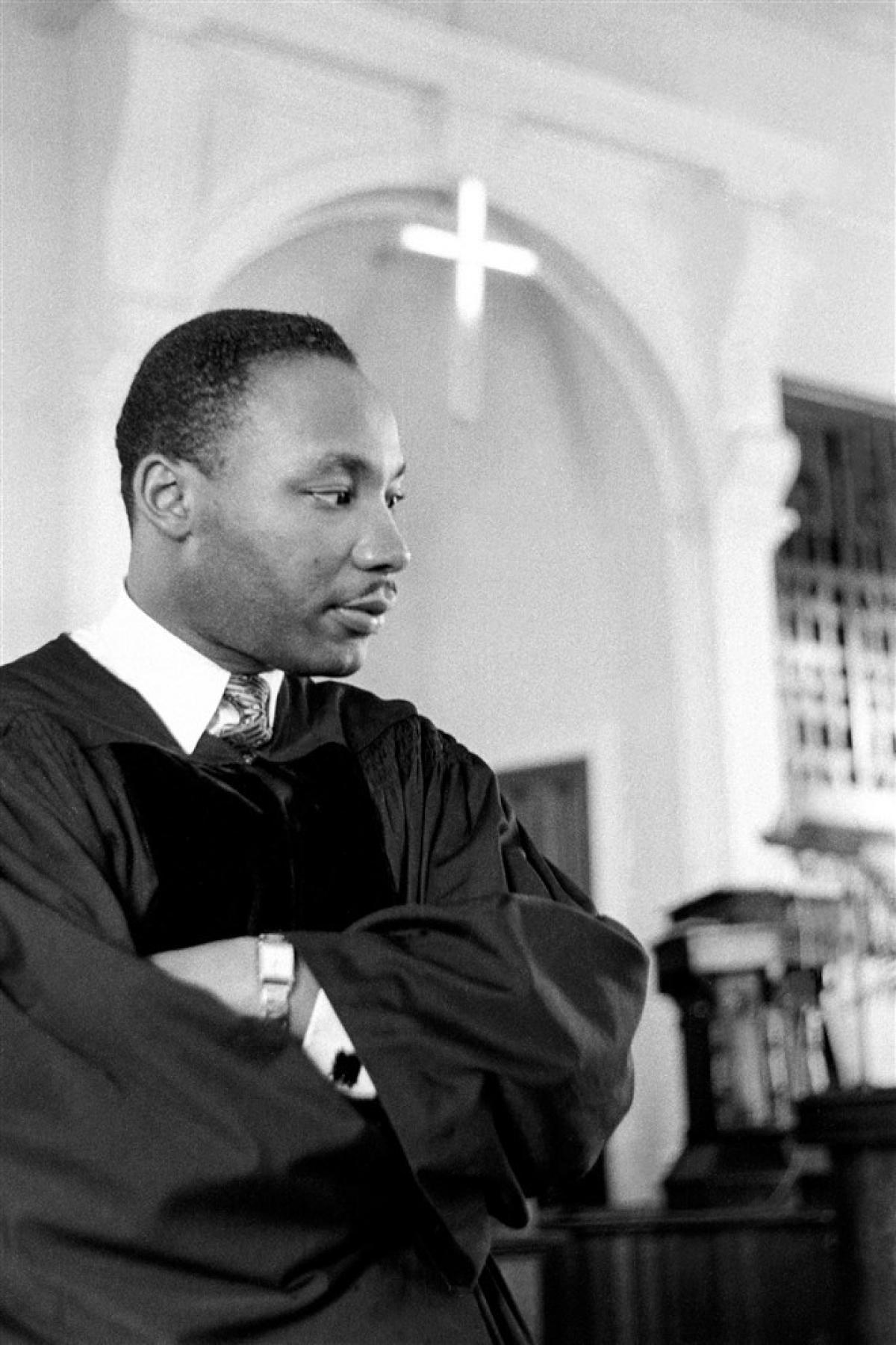 Mục sư King diễn thuyết vào ngày 13/5/1956 tại thành phố Montgomery, bang Alabama. Ảnh: Getty Images