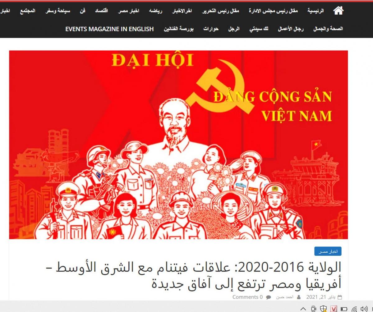 Báo Events của Ai Cập ca ngợi những thành công của Việt Nam