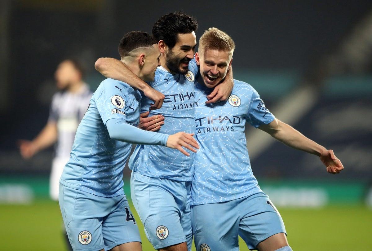 Man City tạm vượt qua MU để vươn lên ngôi đầu Ngoại hạng Anh. (Ảnh: Getty).