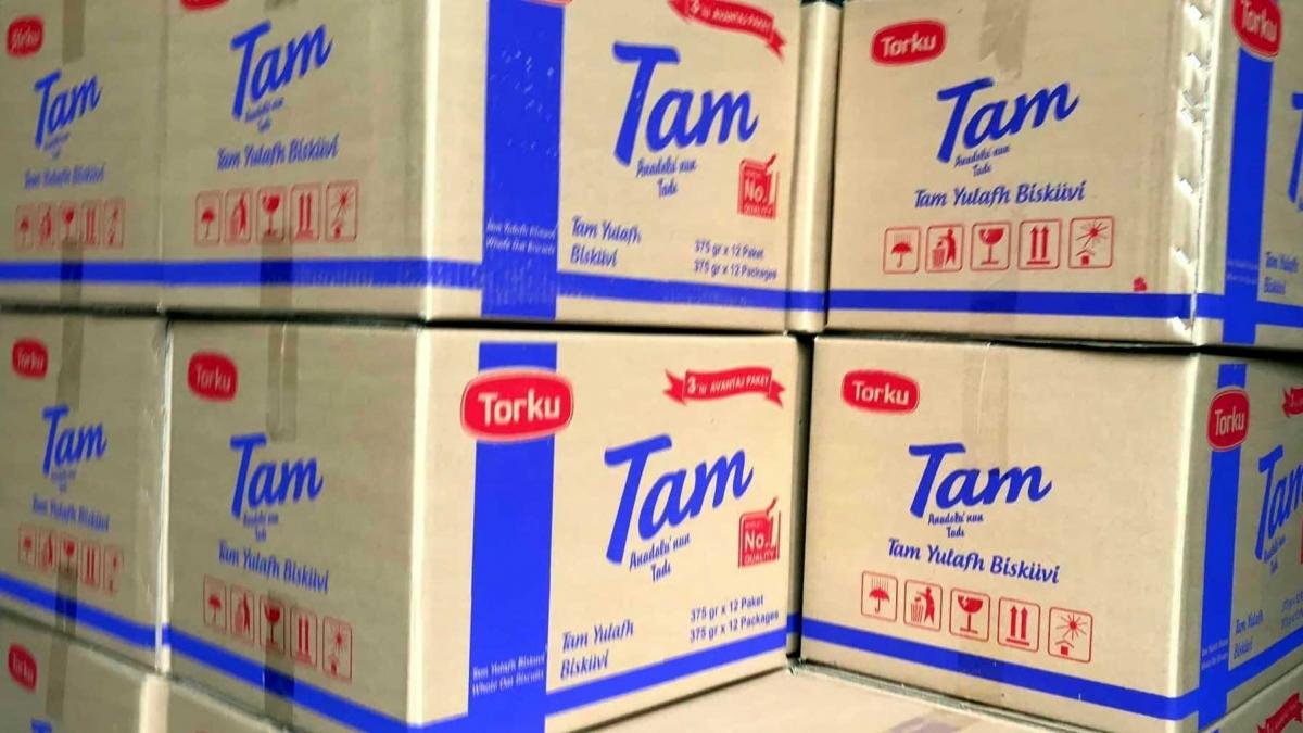 """3 tấn bánh quy yến mạch hiệu """"Torku"""" có nguồn gốc xuất xứ trên bao bì từ Thổ Nhĩ Kỳ."""