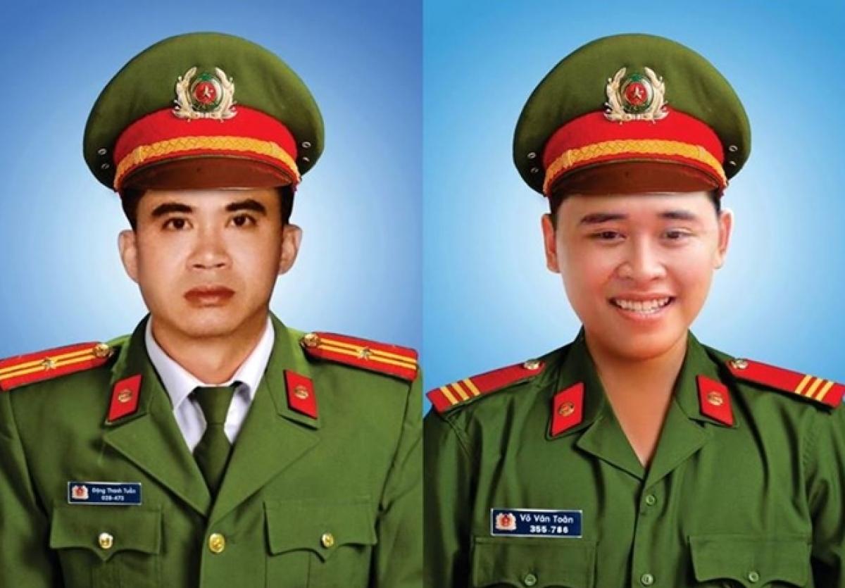 Thiếu tá Đặng Thanh Tuấn và Thượng sỹ Võ Văn Toàn đã hy sinh khi đang làm nhiệm vụ truy bắt nhóm đối tượng đua xe vào đên 2/4 tại quận Sơn Trà, TP Đà Nẵng.