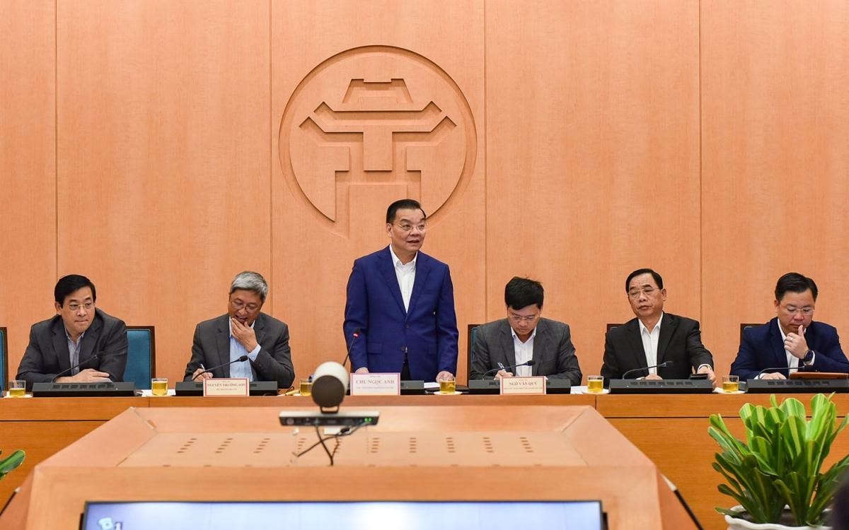Chủ tịch UBND TP Hà Nội Chu Ngọc Anh chỉ đạo công tác phòng, chống dịch COVID-19 trên địa bàn thành phố.