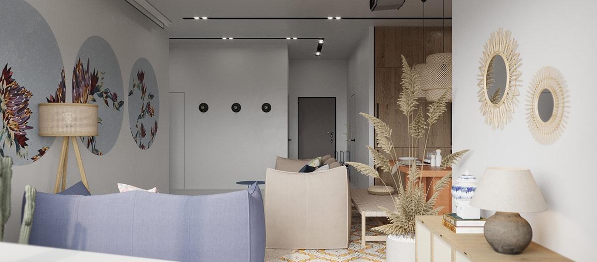 Các món đồ có màu tươi sáng giúp căn hộ có diện tích 94m2 trông rộng rãi hơn rất nhiều.