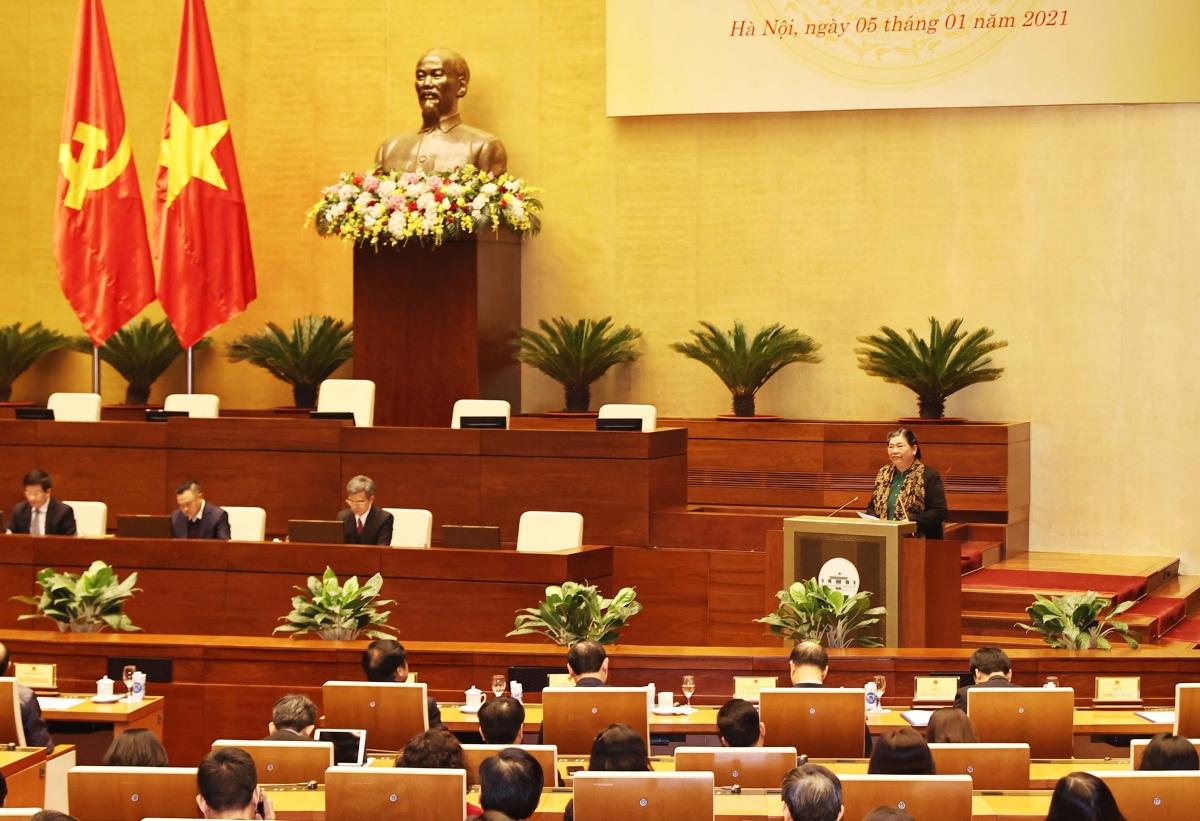 Phó Chủ tịch Thường trực Quốc hội Tòng Thị Phóng phát biểu tại hội nghị