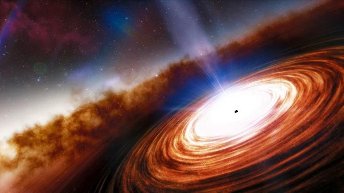 Mô phỏng chuẩn tinh J0313-1806 và siêu hố đen đằng sau. Ảnh: Arizona Daily Star