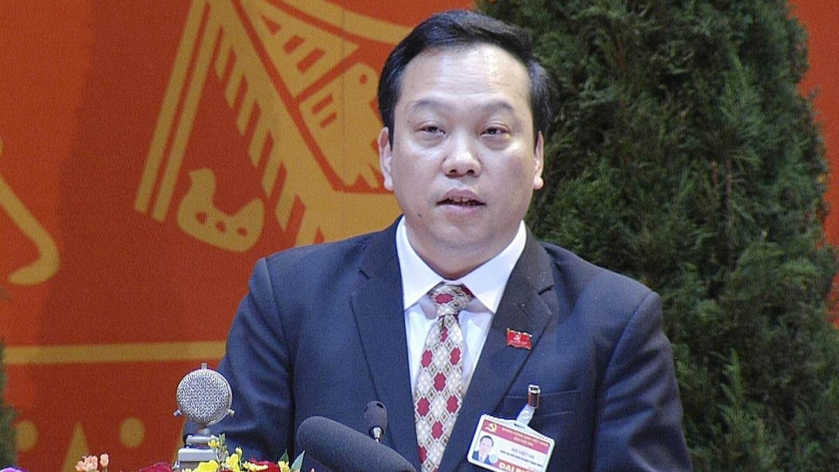 Ông Đỗ Việt Hà - Phó Bí thư Đảng ủy Khối các cơ quan Trung ương trình bày tham luận tại Đại hội lần thứ XIII của Đảng