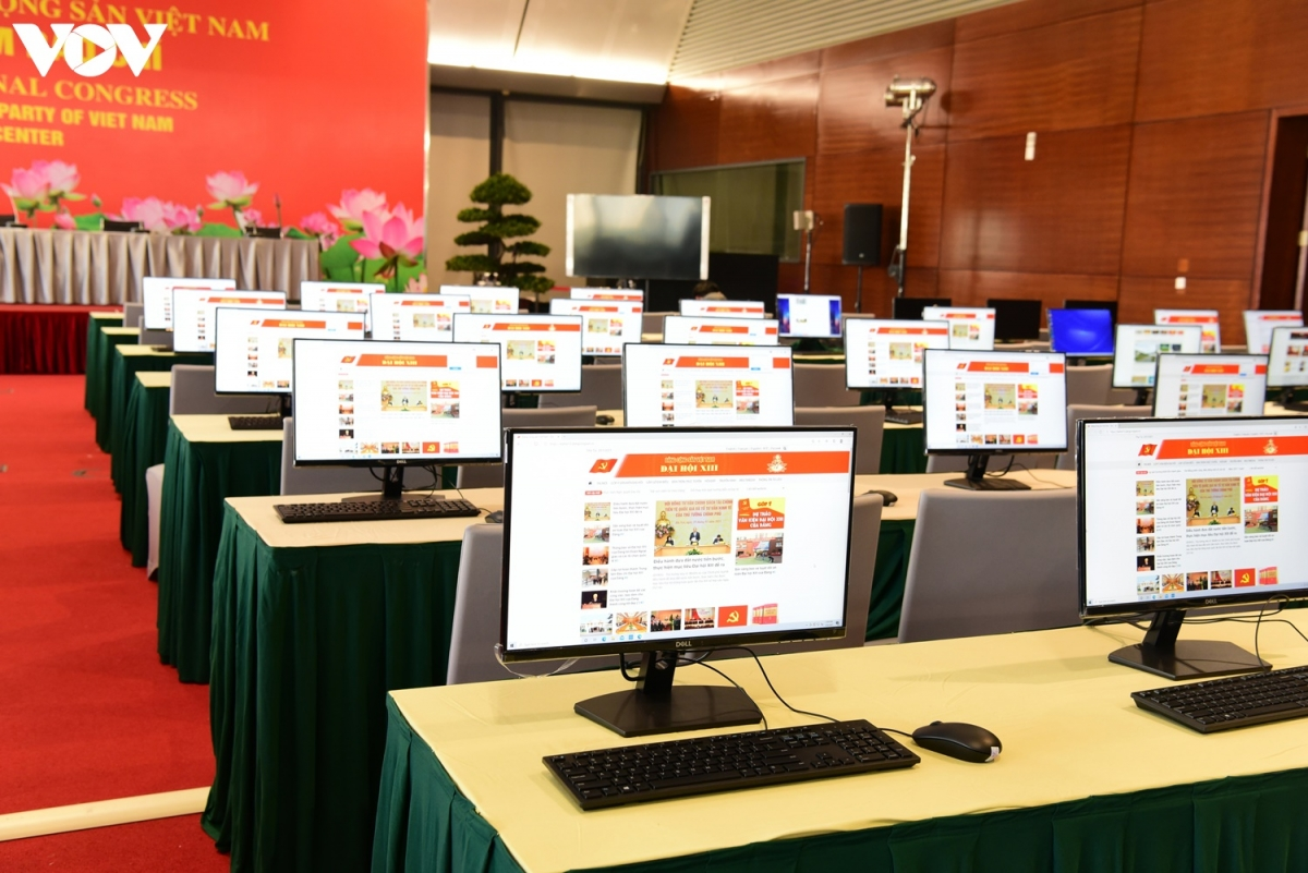 Trung tâm báo chí phục vụ Đại hội Đảng XIII. (Ảnh: Trọng Phú)