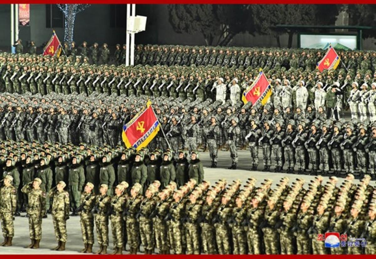 Hình ảnh lễ diễu binh của quân đội Triều Tiên. (Ảnh: KCNA).