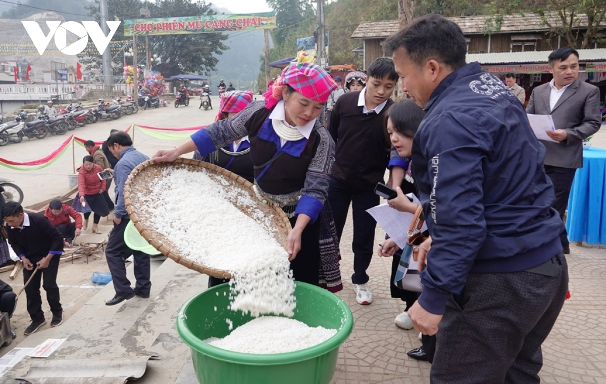 A pounding competition to make Banh Day, a type of round-shaped rice cake, serves as the main activity of the festival, drawing the participation of 26 teams from across Mu Cang Chai mountainous district. The first-ever event has captured the attention of plenty of local people and tourists in attendance.