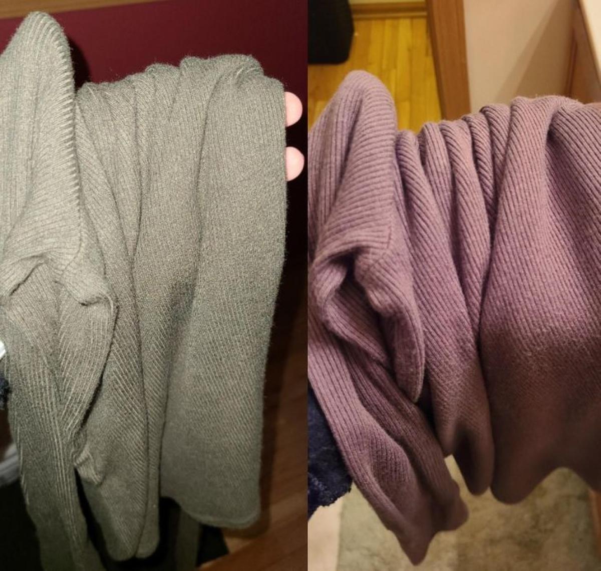 Dưới ánh đèn khác nhau, chiếc áo cho ra hai màu sắc khác nhau.