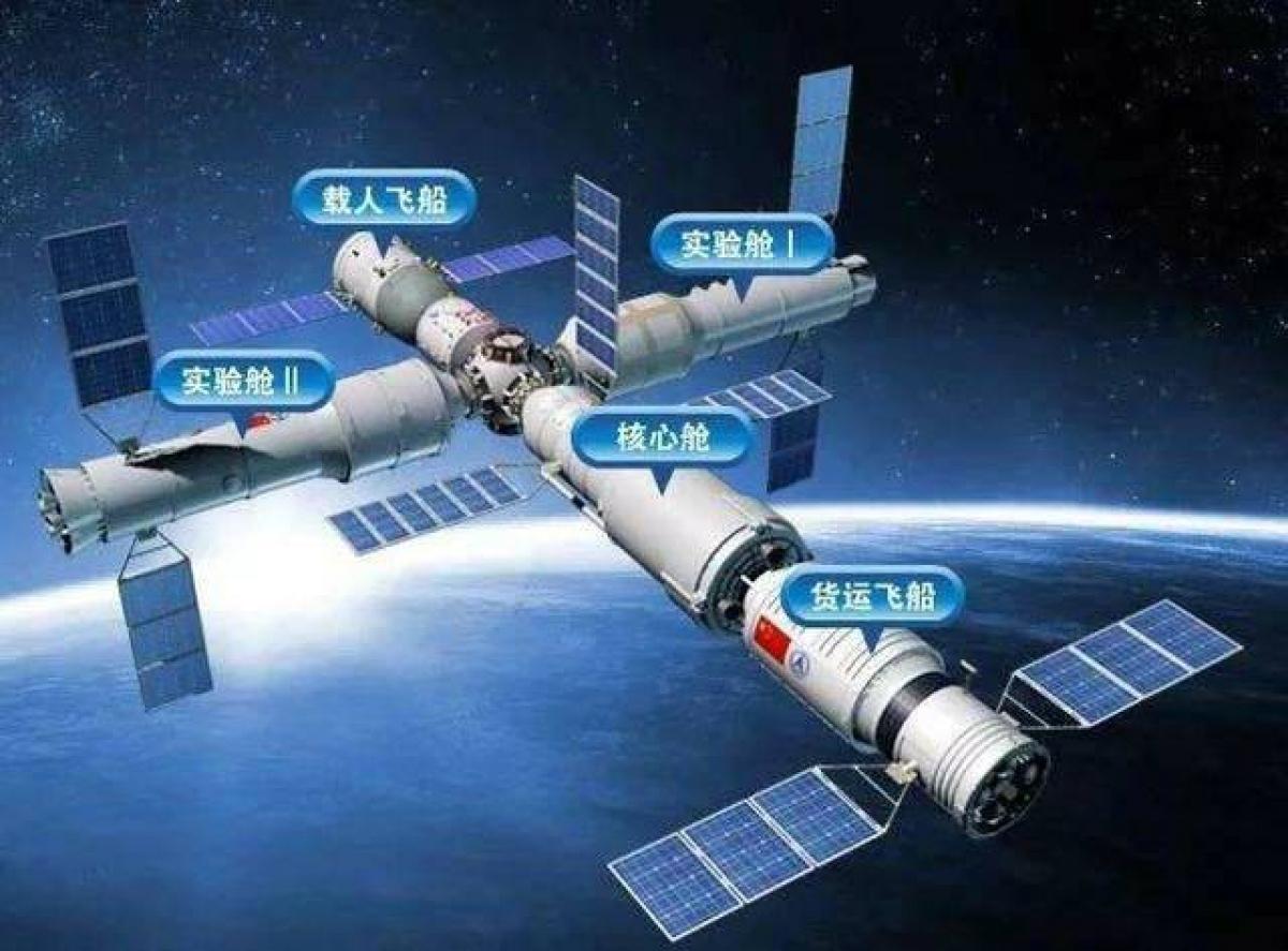 Mô hình Trạm không gian Thiên Cung của Trung Quốc. Ảnh: Mạng Hoàn Cầu.