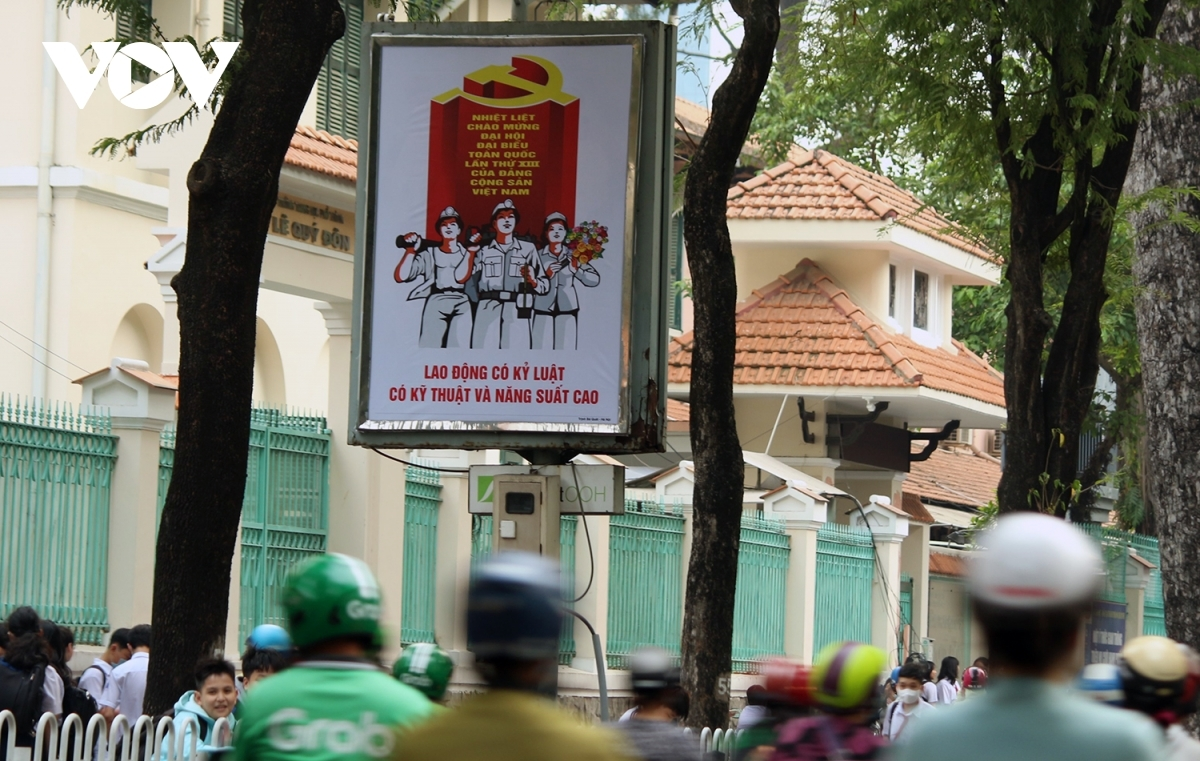 A propaganda poster has been erected in downtown Ho Chi Minh City.
