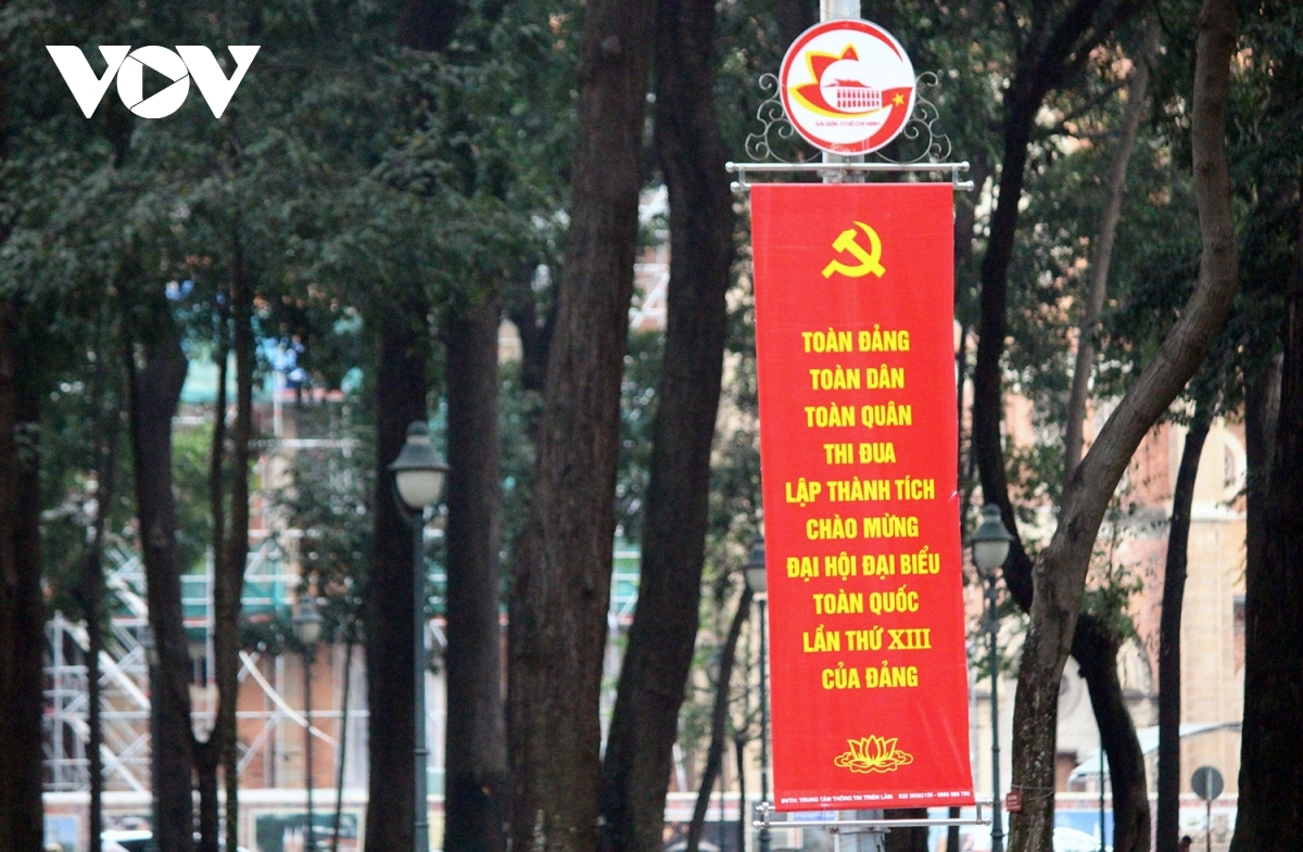 A banner on Le Duan street in District 1 near Independence Palace welcomes the start of the political event.