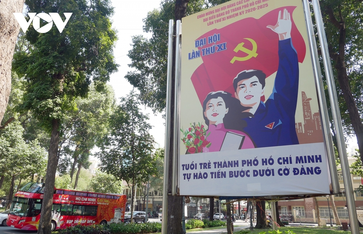 A propaganda poster at April 30 Park displays the youth's pride towards the leadership of the Communist Party of Vietnam.