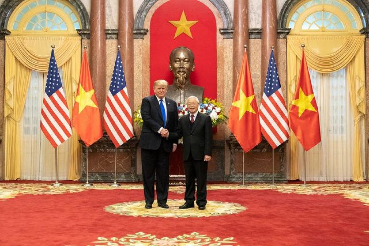 Tổng thống Mỹ Donald Trump hội kiến Tổng Bí thư, Chủ tịch nước Nguyễn Phú Trọng (Ảnh: Nhà Trắng)
