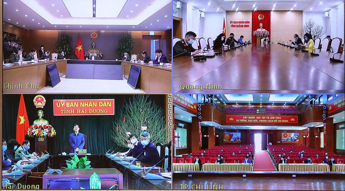 Ban Chỉ đạo Quốc gia về phòng, chống COVID-19 họp trực tuyến với Hải Dương và Quảng Ninh. (Ảnh: Đình Nam)