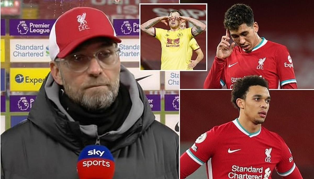 Jurgen Klopp ví trận thua Burnley như cú đấm thẳng vào mặt Liverpool. (Ảnh: Daily Mail)