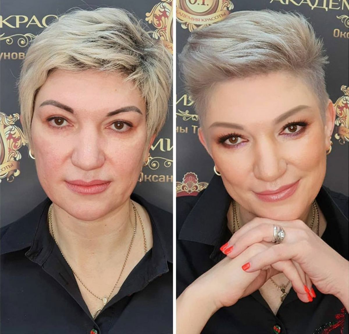 Kiểu tóc cũ của người phụ nữ này không hẳn là xấu nhưng không thật sự trẻ trung. Sau khi thay đổi bằng mái tóc cắt ngắn vuốt ngược lên, người phụ nữ này đã nhìn cá tính, sành điệu hơn hẳn.