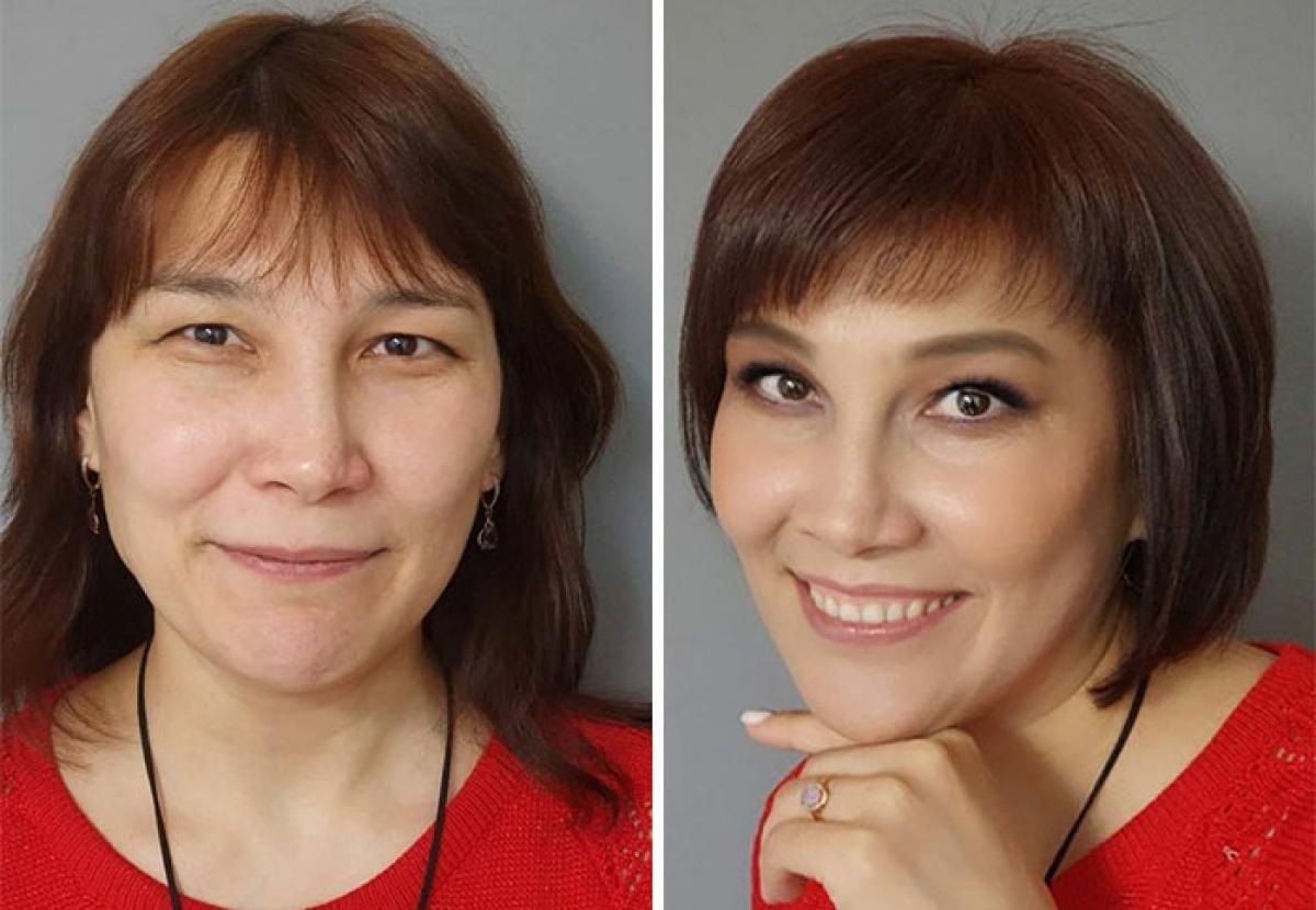 Vẫn giữ nguyên tóc mái vì gương mặt khá dài, song chỉ cần đổi từ tóc lỡ sang tóc tỉa cụp vào mặt, người phụ nữ này đã xinh đẹp hơn rất nhiều.